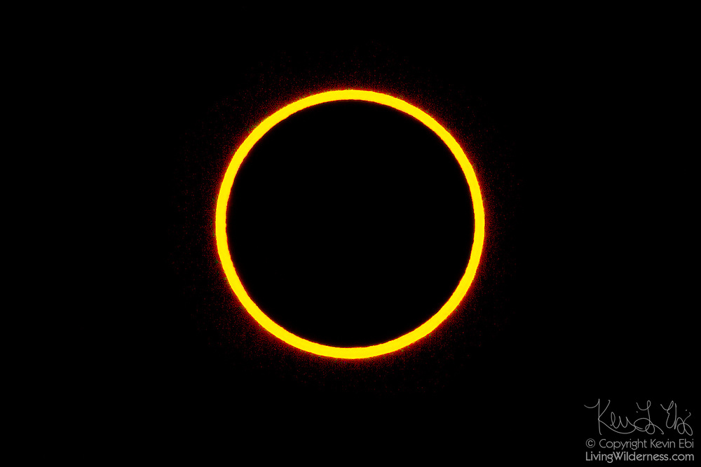 The annular solar eclipse of May 20, 2012 reaches its peak in this view from Lassen Volcanic National Park in California. The Moon's distance from Earth varies, and annular solar eclipses occur when the Moon is relatively far from Earth. The Moon appears smaller in the sky and therefore is not able to block the entire Sun. At the peak of this eclipse, the Moon blocked 95 percent of the Sun.