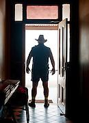 Man standing in doorway, Flinders Ranges, South Australia, Australia