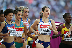 London, August 10 2017 . Stephanie Twell, Great Britain,l in the women's 5,000m heats on day seven of the IAAF London 2017 world Championships at the London Stadium. © Paul Davey.