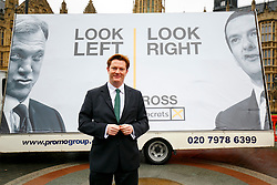© Licensed to London News Pictures. 26/03/2015. LONDON, UK. Treasury Secretary Danny Alexander unveils a new Liberal Democrats election poster at Old Palace Yard, outside Houses of Parliament on Thursday, 26 March 2015. Photo credit : Tolga Akmen/LNP