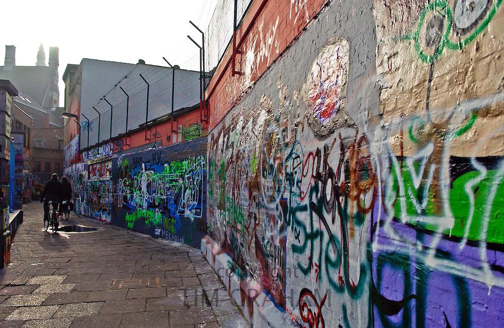 Graffiti on walls  in Werregaren Straat, Ghent, Belgium