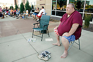 """Clifford Clark, weighing 485 pounds waits in line for an open casting call for season 11 of """"The Biggest Loser"""" television show in Broomfield, Colorado July 17, 2010. Clark arrived at 4:30 in the morning for a chance to be on the show and win $250,000.  Over 600 people attended the casting call.   REUTERS/Rick Wilking (UNITED STATES)"""