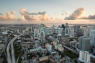 Aerial view of downtown Miami looking north from the Brickell area.