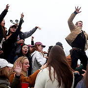NEW HAVEN, CONNECTICUT - NOVEMBER 18: Students tailgating before the Yale V Harvard, Ivy League Football match at the Yale Bowl. The game was the 134th meeting between Harvard and Yale, a historic rivalry that dates back to 1875. New Haven, Connecticut. 18th November 2017. (Photo by Tim Clayton/Corbis via Getty Images)