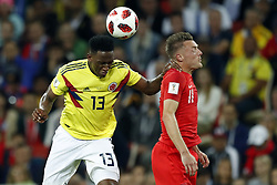 (l-r) Yerry Mina of Colombia, Jamie Vardy of England during the 2018 FIFA World Cup Russia round of 16 match between Columbia and England at the Spartak stadium  on July 03, 2018 in Moscow, Russia