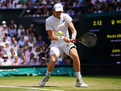 July 13, 2018 - London, England, U.S. - LONDON, ENG - JULY 13: Kevin Anderson (RSA)  in action during his semi final match on July 13, 2018 at the Wimbledon Championships played at the AELTC in London, England. (Photo by Cynthia Lum/Icon Sportswire) (Credit Image: © Cynthia Lum/Icon SMI via ZUMA Press)