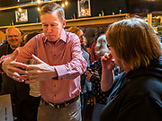 11 MAY 2019 - DAVENPORT, IOWA: JOHN HICKENLOOPER, the former Governor of Colorado, talks to people after a campaign event at Baked Beer and Bread, a microbrew/bakery in Davenport. Gov. Hickenlooper met with voters in Davenport Saturday. He is campaigning in Iowa this weekend to be the Democratic party's nominee for the US Presidency. Iowa traditionally hosts the the first election event of the presidential selection cycle. The Iowa Caucuses will be on Feb. 3, 2020.          PHOTO BY JACK KURTZ