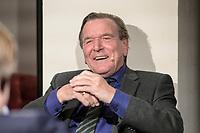 """11 FEB 2020, BERLIN/GERMANY:<br /> Gerhard Schroeder, SPD, Bundeskanzler a.D., als Gast bei dem politischen Feierabend Talk """"Ueberstunde"""", Redaktionsraeune Media Pioneer<br /> IMAGE: 20200211-02-050<br /> KEYWORDS: Überstunde, Gerhard Schröder"""