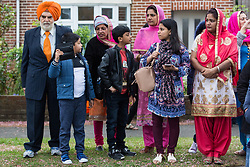 Slough, UK. 28th April 2019. Thousands of Sikhs attend the Vaisakhi Nagar Kirtan procession. Vaisakhi is the holiest day in the Sikh calendar, a harvest festival marking the creation of the community of initiated Sikhs known as the Khalsa.