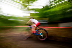 August 7, 2018 - Glasgow, UNITED KINGDOM - 180807 An athlete competes in the Women's Mountain Bike Cycling during the European Championships on August 7, 2018 in Glasgow..Photo: Jon Olav Nesvold / BILDBYRN / kod JE / 160288 (Credit Image: © Jon Olav Nesvold/Bildbyran via ZUMA Press)
