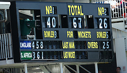 July 8, 2017 - London, United Kingdom - New Scoreboard.during 1st Investec Test Match Day Three between England and South Africa at Lord's Cricket Ground in London on July 08, 2017  (Credit Image: © Kieran Galvin/NurPhoto via ZUMA Press)