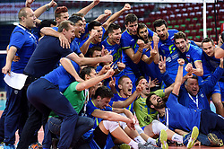 Team Slovenia celebrate after winning during volleyball match between National teams of Poland and Slovenia in Quarterfinals of 2015 CEV Volleyball European Championship - Men, on October 14, 2015 in Arena Armeec, Sofia, Bulgaria. Photo by Ronald Hoogendoorn / Sportida