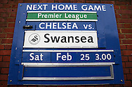 a Board showing the next home match is Chelsea vs Swansea. Premier league match, Chelsea v Arsenal at Stamford Bridge in London on Saturday 4th February 2017.<br /> pic by John Patrick Fletcher, Andrew Orchard sports photography.