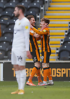 Hull City's Keane Lewis-Potter is congratulated by Callum Elder after he scores his side's first goal in the 22nd minute <br /> <br /> Photographer Lee Parker/CameraSport<br /> <br /> The EFL Sky Bet League One - Hull City v Oxford United - Saturday 13th March 2021 - KCOM Stadium - Kingston upon Hull<br /> <br /> World Copyright © 2021 CameraSport. All rights reserved. 43 Linden Ave. Countesthorpe. Leicester. England. LE8 5PG - Tel: +44 (0) 116 277 4147 - admin@camerasport.com - www.camerasport.com