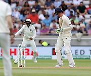 Keaton Jennings watches as he plays on (out, bowled) during the first Test Match between England and India at Edgbaston, Birmingham. Photo: Graham Morris  / www.photosport.nz