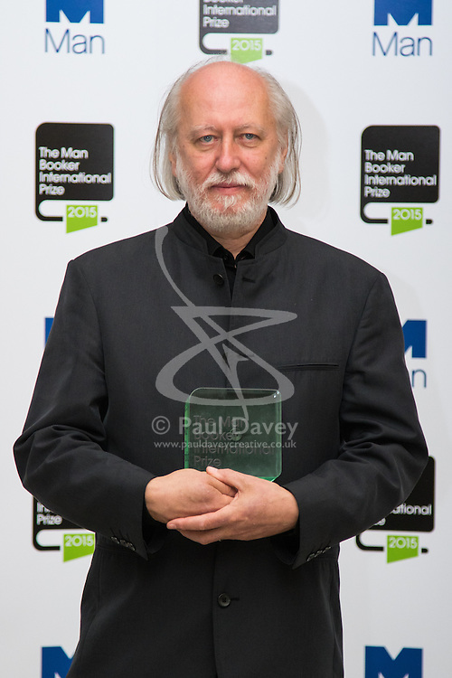 London, May 19th 2015. Innovative Hungarian writer László Krasznahorkai, winner of The Man Booker International Prize. The award recognises one writer for his or her achievement in fiction. Worth £60,000, the prize is awarded every two years to a living author who has published fiction either originally in English or whose work is generally available in translation in the English language. The winner is chosen solely at the discretion of the judging panel and there are no submissions from publishers. The ten finalists for 2015 were The nine other  finalists were César Aira (Argentina), Hoda Barakat (Lebanon), Maryse Condé (Guadeloupe), Mia Couto (Mozambique), Amitav Ghosh (India), Fanny Howe (United States of America), Ibrahim al-Koni (Libya),   Alain Mabanckou (Republic of Congo) and Marlene van Niekerk (South Africa).