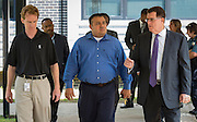 Houston ISD Superintendent Dr. Terry Grier, right, talks with Giovanni Ponce, center and Roy De La Garza, left, while touring MIlby, South Early College and the Jones Futures Academy during first day of school at Jones High School, August 25, 2014.