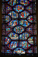 Medieval stained glass Window of the Gothic Cathedral of Chartres, France - dedicated to St Sylvester. A UNESCO World Heritage Site. .<br /> <br /> Visit our MEDIEVAL ART PHOTO COLLECTIONS for more   photos  to download or buy as prints https://funkystock.photoshelter.com/gallery-collection/Medieval-Middle-Ages-Art-Artefacts-Antiquities-Pictures-Images-of/C0000YpKXiAHnG2k