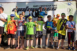 Competitors and winner of MX65 during Slovenian Championship in Motocross, on June 2nd, 2019 in Orehova Vas, Slovenia. Photo by Blaž Weindorfer / Sportida