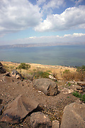 Israel, Golan Heights, View of the Sea of Galilee