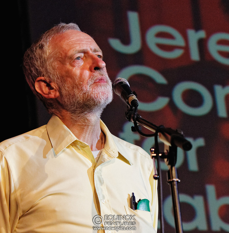 London, United Kingdom - 3 August 2015<br /> Labour leadership candidate Jeremy Corbyn MP speaking at the Grassroots for Jeremy campaign rally at the Camden Centre, King's Cross, London, England, UK.<br /> (photo by: Equinox Features/EQUINOXFEATURES.COM)<br /> <br /> Picture Data:<br /> Photographer: Equinox Features<br /> Copyright: ©2015 Equinox Licensing Ltd. +448700 780000<br /> Contact: Equinox Features<br /> Date Taken: 20150803<br /> Time Taken: 20073300<br /> www.newspics.com
