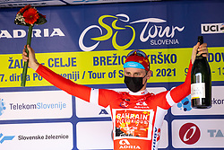 Matej MOHORIC of BAHRAIN VICTORIOUS in red jersey at trophy ceremony during the 5th Stage of 27th Tour of Slovenia 2021 cycling race between Ljubljana and Novo mesto (175,3 km), on June 13, 2021 in Slovenia. Photo by Matic Klansek Velej / Sportida