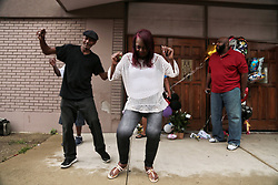 August 16, 2018 - Detroit , Michigan, U.S. - MARY BROWNLEE of Memphis dances along with DANIEL STURGIS of Detroit while visiting the New Bethel Baptist Church where Aretha Franklin grew up in in Detroit on Thursday, following her passing. (Credit Image: © Ryan Garza/Detroit Free Press via ZUMA Wire)
