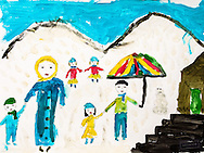 Drawn by a Syrian refugee girl in a tea garden in Reyhanli. A family in the snow.<br /> Topic for session: Draw the future you hope for.