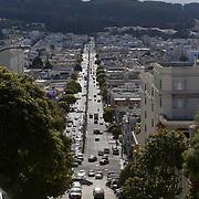 "Scene along San Francisco's famous ""crooked street,"" Lombard Street in the Russian Hill neighborhood."