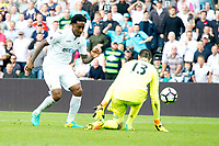 Football — 2016 / 2017 Premier League - Swansea vs Chelsea<br /> <br /> Leroy Fer of Swansea City beats Thibaut Courtois of Chelsea scores his team's second goal at the Liberty Stadium.<br /> <br /> pic colorsport/winston bynorth