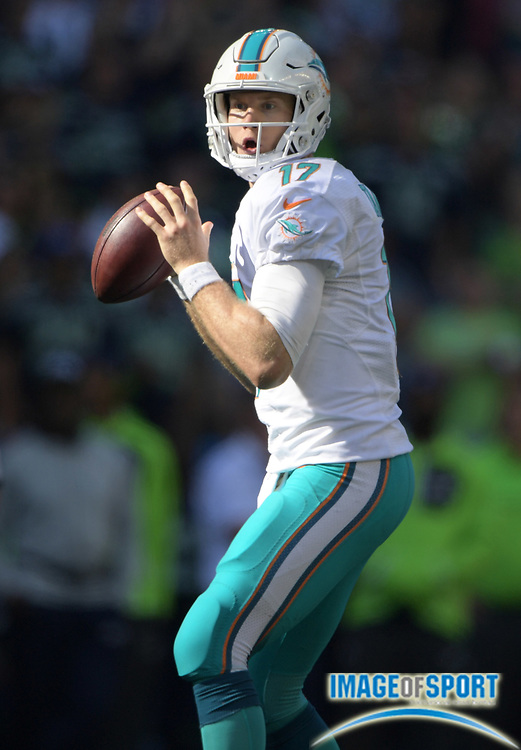 Sep 11, 2016; Seattle, WA, USA; Miami Dolphins quarterback Ryan Tannehill (17) throws a pass against the Seattle Seahawks during a NFL game at CenturyLink Field. The Seahawks defeated the Dolphins 12-10.