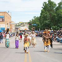 Calaveras Mi-Wuk from Sheep Ranch Rancheria in  Calaveras County California at the Gallup Inter-Tribal Indian Ceremonial parade Saturday morning in downtown Gallup.