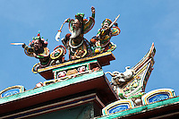 """Cheng Hoon Teng Temple or Temple of the Green Clouds is situated close on Jalan Tukang Emas, also known as """"Harmony Street"""" because of its proximity to the Kampung Kling Mosque and Sri Poyatha Moorthi Temple..The richly decorated Cheng Hoon Teng temple and .features a magnificent main gate and the buildings conform to the principles of feng shui. The complex is laid out to ensure a view of the river and high ground on either side."""