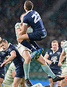 Twickenham, Surrey, 12th December 2019, Oxfords Henry MARTIN, contest the high ball with Cambridge's Fergus JEMPHREY, during The Varsity Match, Oxford University vs Cambridge University, RFU Stadium, England.  <br /> <br /> [Mandatory Credit; Peter SPURRIER/Intersport Images]