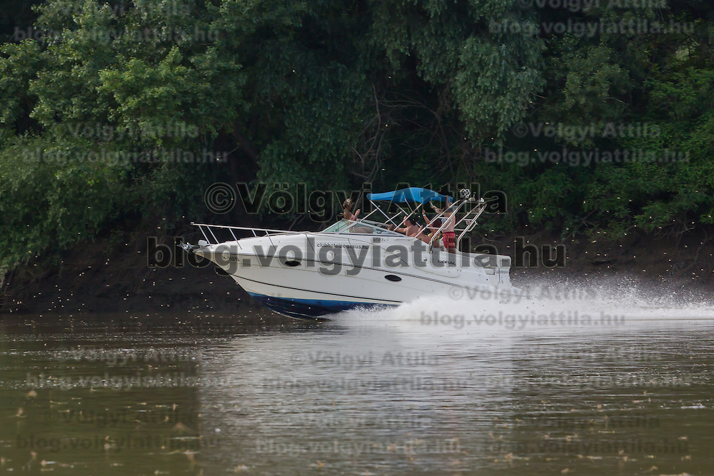 Motorboat illegally crosses the swarming area of the long-tailed mayfly (Palingenia longicauda) on the river Tisza in Tiszainoka (some 135 km south-east from Budapest), Hungary on June 23, 2013. ATTILA VOLGYI<br /> The long-tailed mayfly larves live 3 years under water level in the river banks then swarm out for a one day period of their life to die after mating.