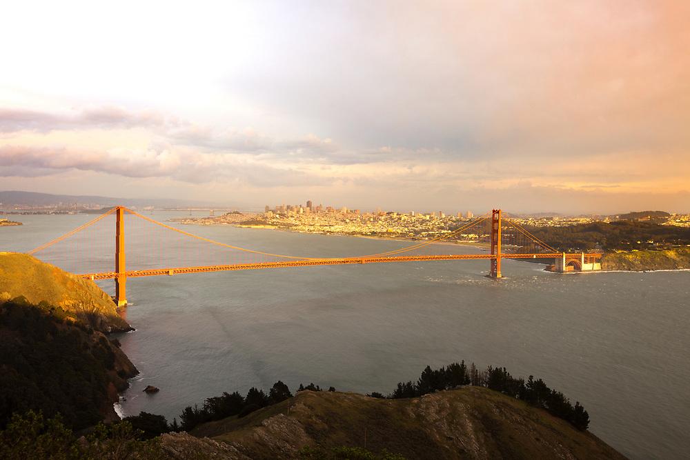 The Golden Gate Bridge at sunset, San Francisco, California, USA