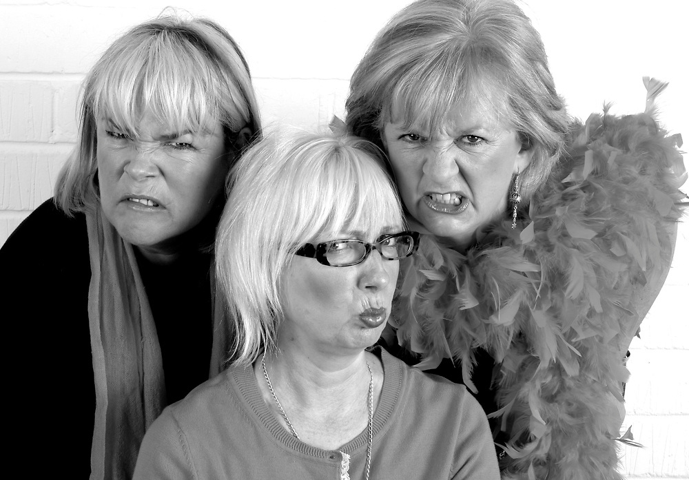 3 grumpy women original cast, Jenny Éclair, Dillie Keane and Linda Robson<br /> Client Breast Cancer Campaign