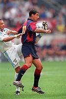 Dani (Barcelona) and Sinisa Mihajlovic (Lazio). Barcelona v Lazio. The Amsterdam Tournament. Amsterdam Arena, 5/8/2000. Credit: Colorsport / Stuart MacFarlane.
