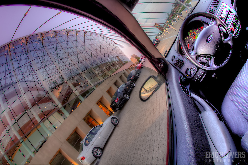 Kauffman Center for the Performing Arts fisheye lens photo from the back seat of my car.