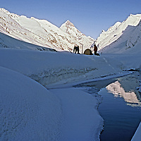 Ski mountaineers camp in the Warwan Valley of India's Great Himalaya Range during a two-week expedition crossing the mountains from Ladakh to Kashmir.