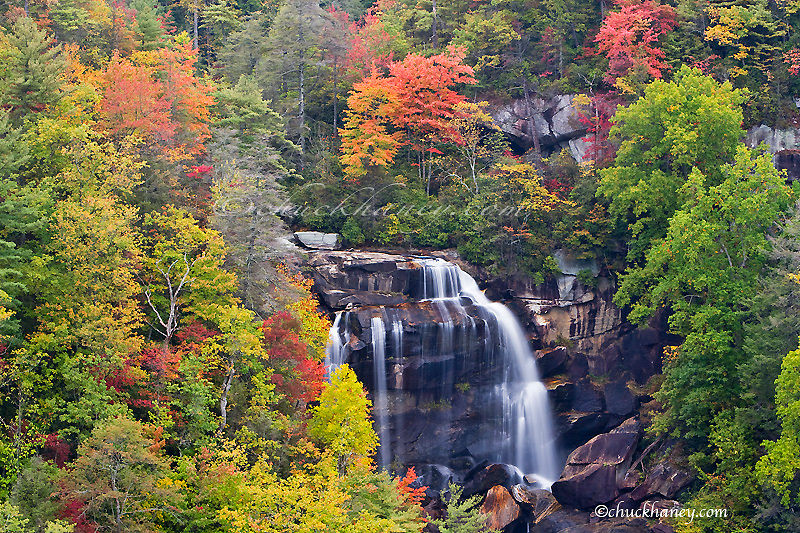 Dramatic Whitewater Falls in autumn in the Nantahala National Forest of North Carolina