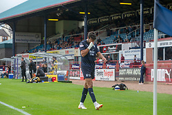 Dundee's Scofian Moussa sent off. Dundee 0 v 3 Ayr United, Scottish League Cup Second Round, played 18/8/2018 at the Kilmac Stadium at Dens Park, Scotland.