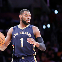 07 December 2014: New Orleans Pelicans forward Tyreke Evans (1) brings the ball up court during the New Orleans Pelicans 104-87 victory over the Los Angeles Lakers, at the Staples Center, Los Angeles, California, USA.