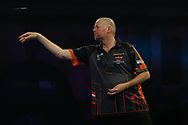 Could this be Raymond van Barneveld's last dart ever during a PDC World Darts Championship? Action during the World Championship Darts 2018 at Alexandra Palace, London, United Kingdom on 17 December 2018.
