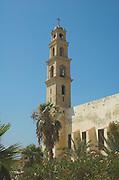 Israel, Tel Aviv, Jaffa Steeple of St Peter church and Monastery