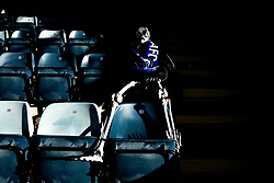 A general view of The Crown Oil Arena (Spotland), home to Rochdale where a skeleton is placed to watch the game taking place on Halloween - Mandatory by-line: Robbie Stephenson/JMP - 31/10/2020 - FOOTBALL - Crown Oil Arena - Rochdale, England - Rochdale v Bristol Rovers - Sky Bet League One