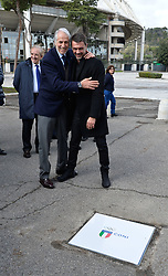 March 12, 2018 - Rome, Italy - The president of the Italian Olympic Committee (CONI), Giovanni Malago welcomes former player Paolo Maldini during the ceremony Walk of Fame in Rome, Italy, on 12 March 2018. The Walk of Fame is enriched with 5 more samples. Along the Via Olimpiadi, which leads straight to the Olympic stadium in Rome, new plates have been added dedicated to five blue champions no longer in business: the historic Milan captain and national defender, soccer player Paolo Maldini, the swimmer Massimiliano Rosolino, the middle distance runner Luigi Beccali, the cyclist Ercole Baldini and the volleyball player Samuele Papi. (Credit Image: © Silvia Lore/NurPhoto via ZUMA Press)