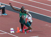 Athletics - 2017 IAAF London World Athletics Championships - Day Two, Evening Session<br /> <br /> Mens Long Jump Final<br /> <br /> Luvo Manyonga leaps to victory in the final of the mens long jump at the London Stadium.<br /> <br /> COLORSPORT/DANIEL BEARHAM