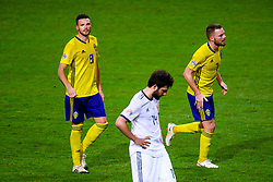 November 20, 2018 - Stockholm, SWEDEN - 181120 Marcus Berg of Sweden and Sebastian Larsson  of Sweden celebrates after the 2-0 goal  during the Nations League football match between Sweden and Russia on November 20, 2018 in Stockholm  (Credit Image: © Simon HastegRd/Bildbyran via ZUMA Press)