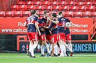 Doncaster Rovers celebrate the first goal of the match by Doncaster Rovers defender Andrew Butler (6) during the The FA Cup 2nd round match between Charlton Athletic and Doncaster Rovers at The Valley, London, England on 1 December 2018. Photo by Toyin Oshodi